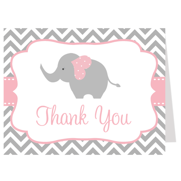 Chevron Stripes and Elephant Theme Baby Shower Thank You for girls in Pink