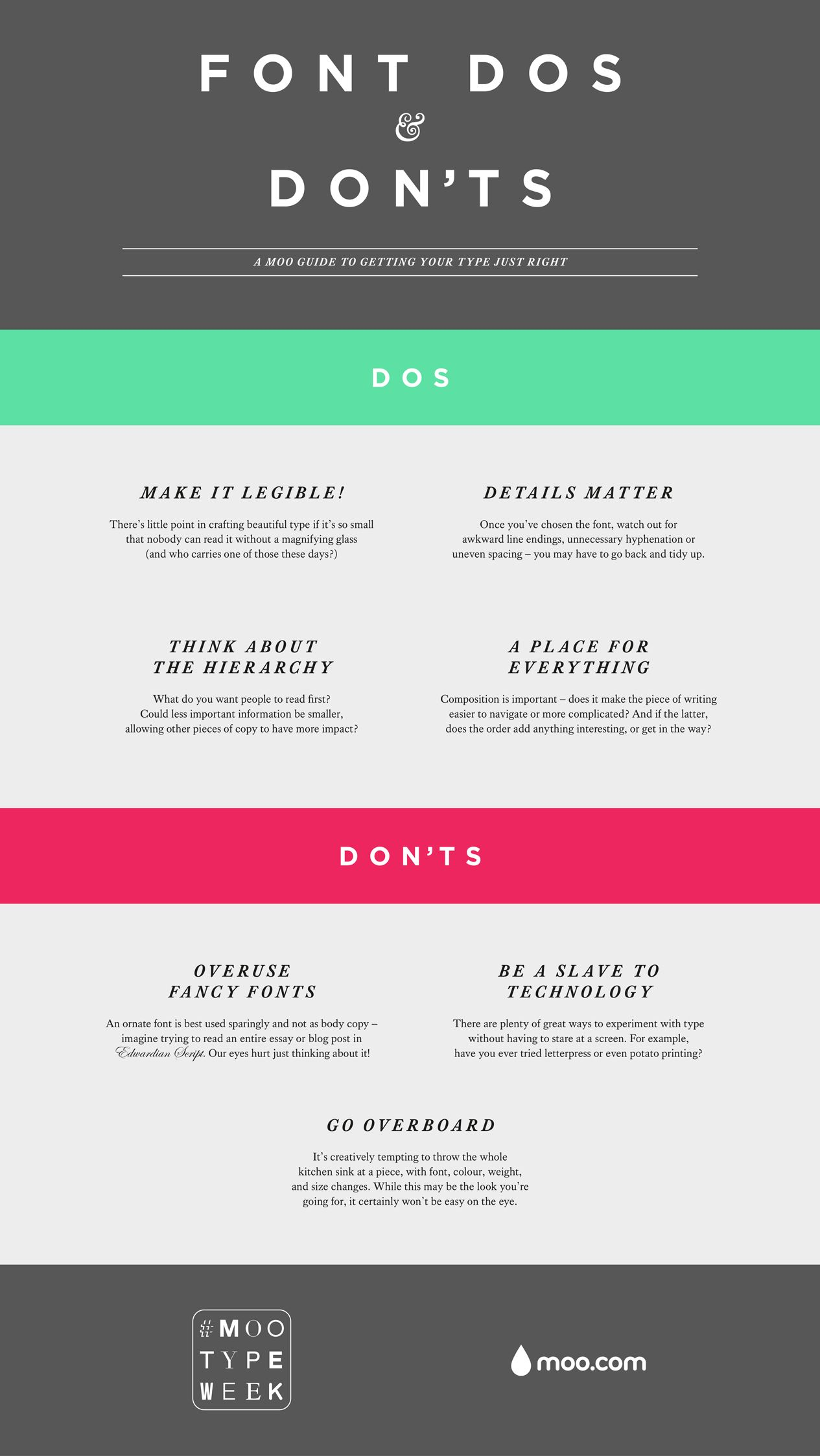 MOO\'s Font Dos & Don\'ts | Graphic Design Love | Pinterest ...