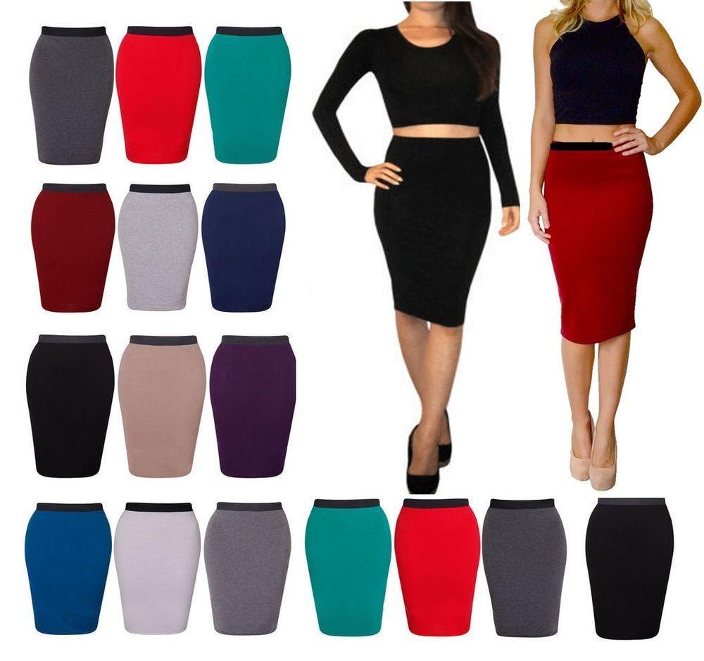 Womens High Waisted Plain Jersey Summer Bodycon Tube Pencil  Stretch  Midi Skirt