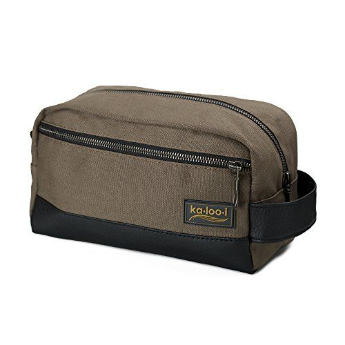 75aa5f8def Toiletry Bag for Men Canvas Dopp Kit for Travel Gym Grooming Shaving  Waterproof Lining 10 x 45 x 55 Olive Green with Vegan Leather Trim Comes  with Bonus ...