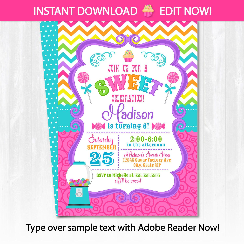 Candyland Invitations - Candy land Birthday Invitation - Candy ...