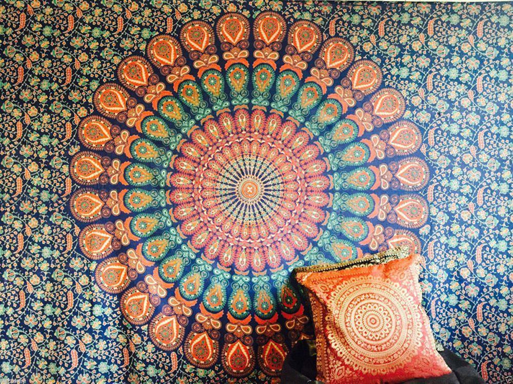 Indian Screen Printed Cotton Mandala Tapestries measuring