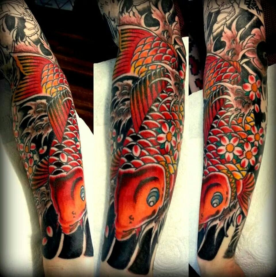 65 Japanese Koi Fish Tattoo Designs Meanings: #Japanese Sleeve #forearm #koi #colour #traditional