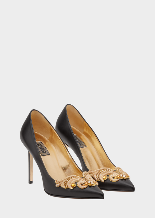 e4ca554337 Versace Embroidered Baroque Leather Pumps. Closed, pointed toe ...