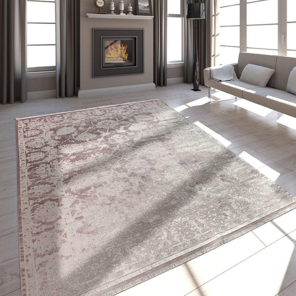Fransen Teppich Wohnzimmer Satin Optik Wohnzimmer Teppich