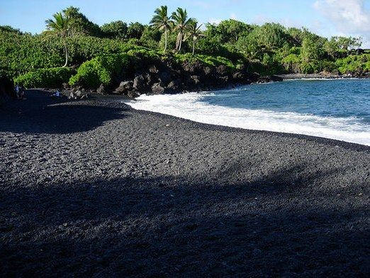 Punaluu Beach Is A Between Pahala And Naalehu In Hawaii The Has Black Sand Created By Lava Flowing Into Ocean Which Explodes As It Reaches