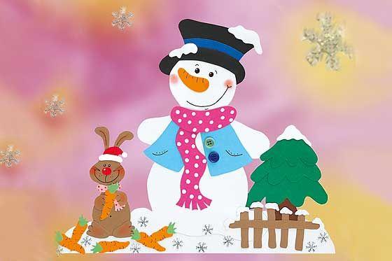 Fr hliches schneemann fensterbild fensterbild schneemann for Fensterdeko weihnachten basteln papier