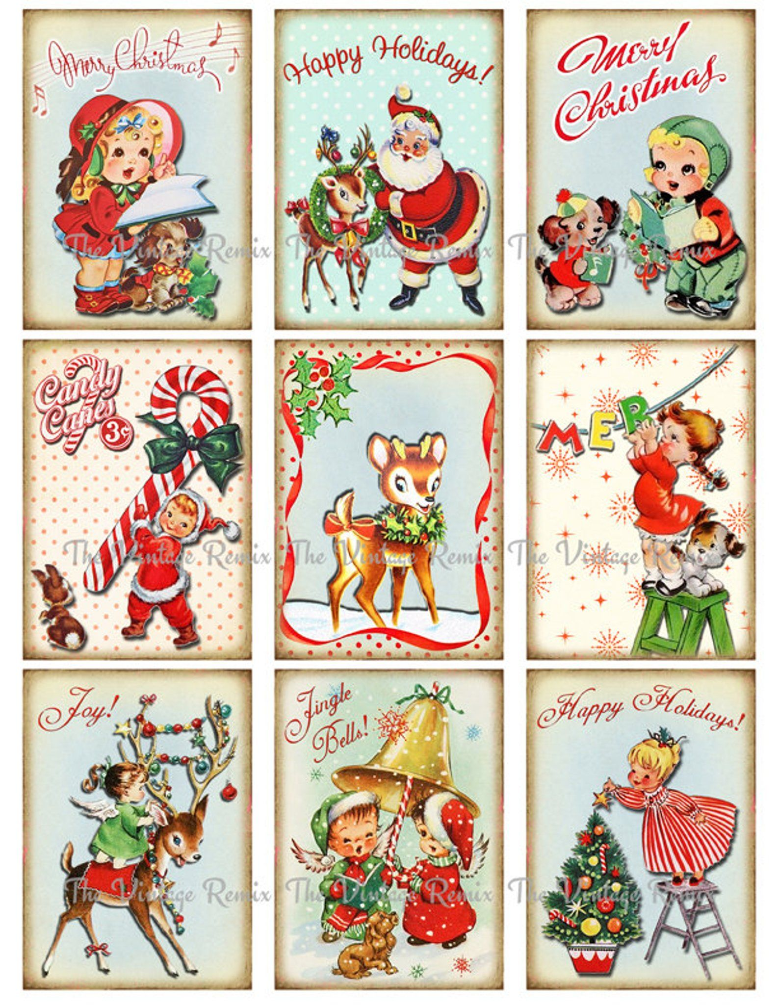 Instant Download Printable Christmas Tags Digital Collage Etsy Christmas Tags Printable Retro Christmas Decorations Vintage Christmas Cards