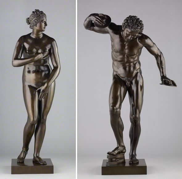 Venus de' Medici (left) and Dancing Faun (right). Pietro Cipriani (c.1680-before May 1745, Florence). 1722–24. Bronze, 61 1/8 in. high (Venus) and 56 1/2 in. high (Faun). -The J. Paul Getty Museum-