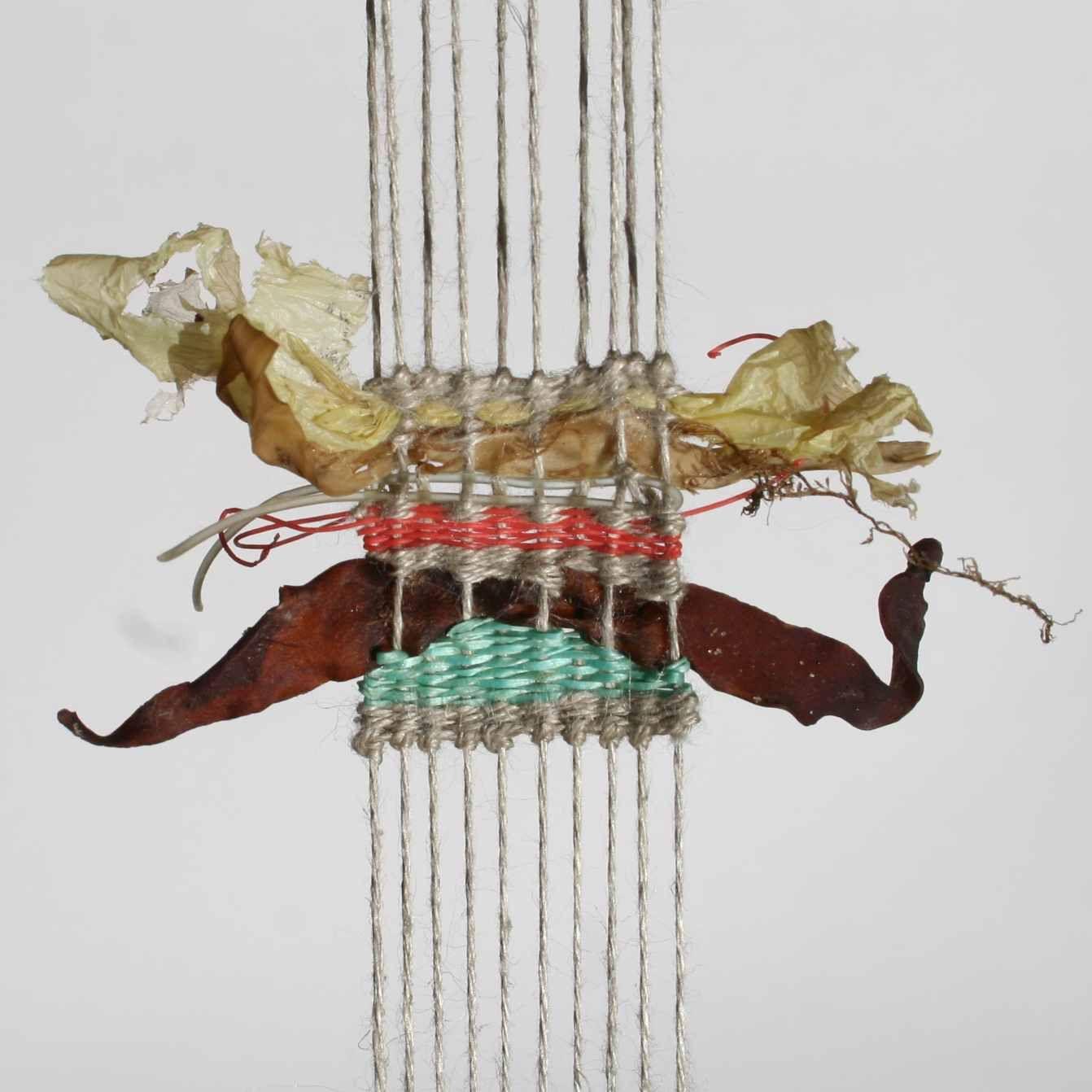 tapestry weave: linen, items found on beach walk by Alice Fox 26.5.12 #fiber_art #weaving