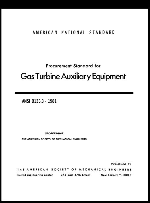 Procurement Standard For Gas Turbine Auxiliary Equipment Ansi 8133 3 1981 Gas Turbine Turbine Procurement