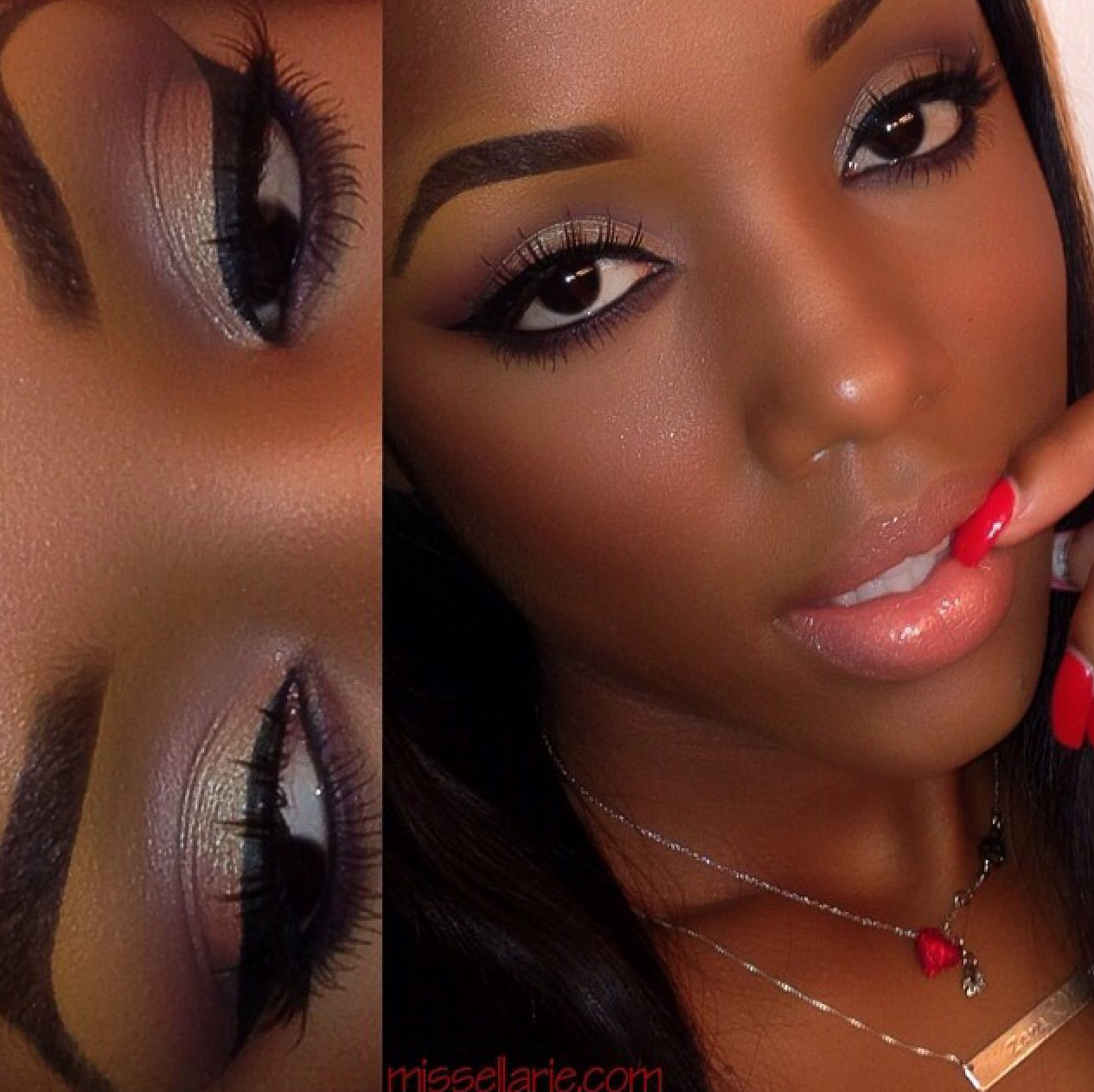 Beautiful subtle makeup for dark complexion American