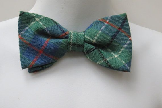 Items similar to Green Plaid Wool Bow Tie by Lochcarron - Clip On Shirt Neck Tie - Mens Accessories - Gift Idea - Formal Wear St Patricks Day on Etsy