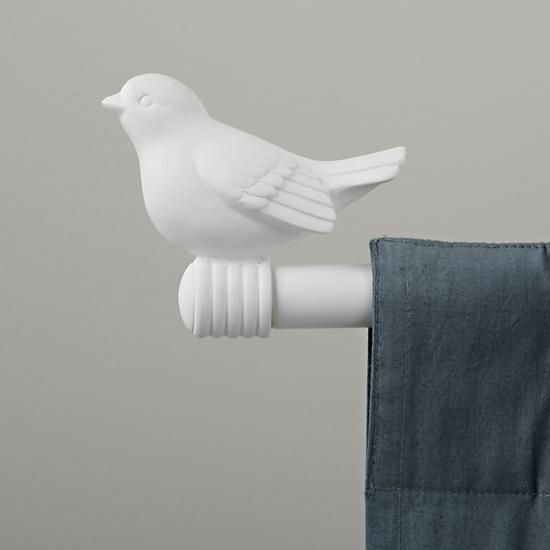 The Land Of Nod   White Bird Finials: 2 Birds From Dollar Tree Painted White  And Attached To Curtain Rods?