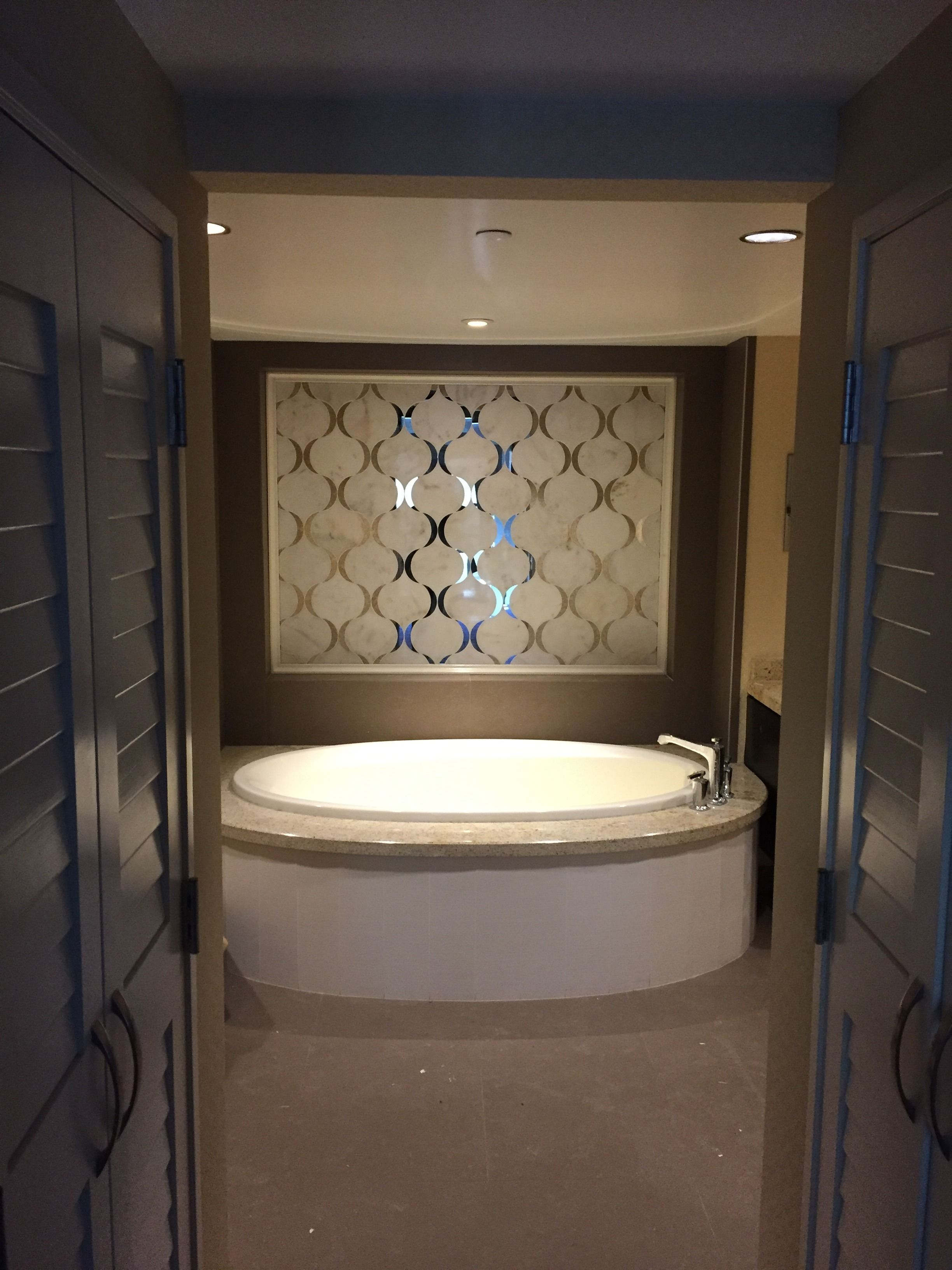 Mosaic liners art pattern mirrorred bathroom wall discount tiles - Justdesign Your Feature Wall Today Like This Fw Ribbon Custom Marble And Mirror Mosaic Designed By Sa Dezign Studio For The Guest Suites At Cache Creek