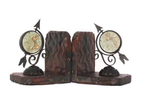 1970s A pair of rustic wood bookends with globe and by EbyglassETC, €18.60