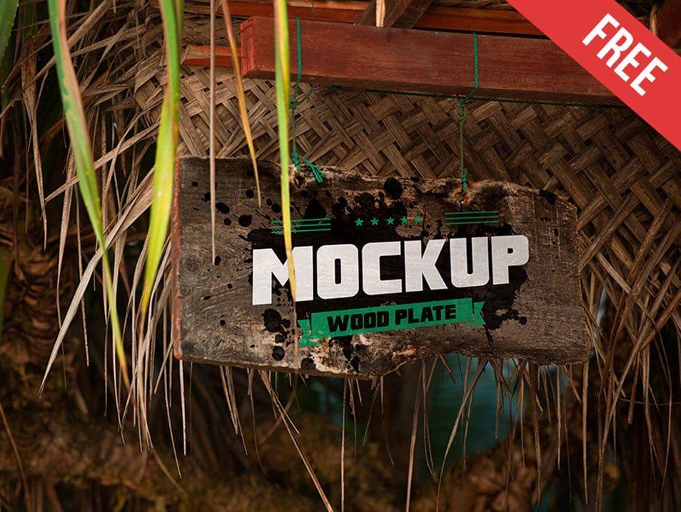 Free Jungle Wood Plate Sign Mockup In Psd Jungle Wood Plate Sign Mockup Psd Sign Mockup Wood Plate Mockup