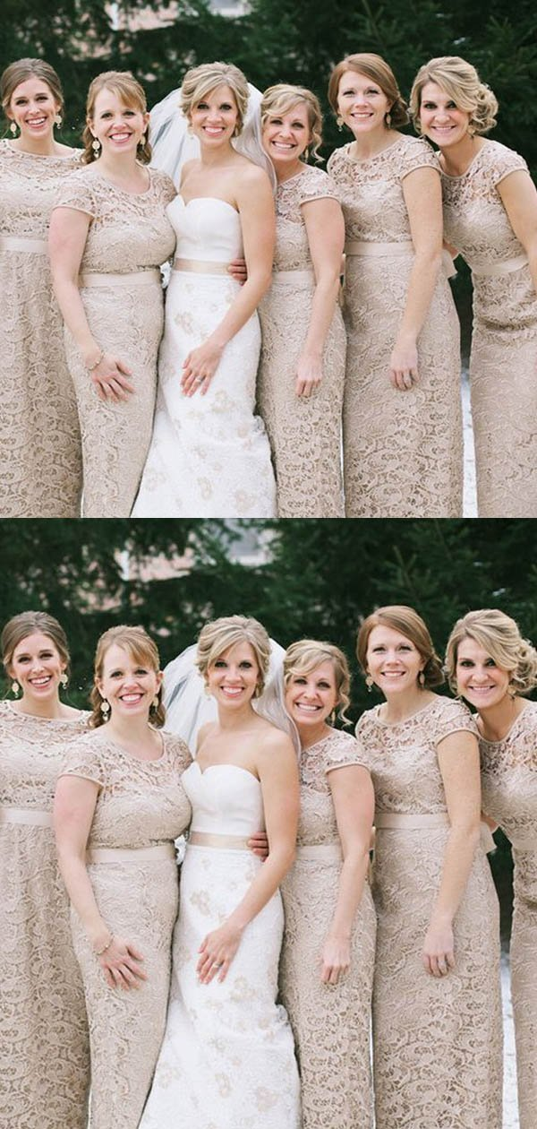 Alluring Illusion Cap Sleeve Long Mermaid Lace Bridesmaid Dresses With Sash, Bridesmaid Dresses, VB02380 #lacebridesmaids