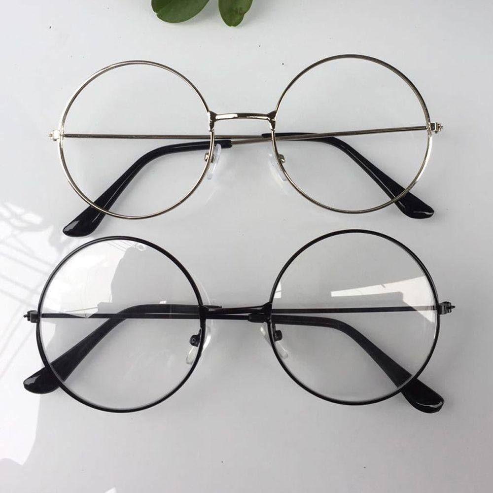 2956c228bbd11 2018 Novo homem Mulher Retro Grandes Óculos Redondos óculos Óculos  Transparentes óculos de armação de Metal Ouro Prata Preto 3 Cores