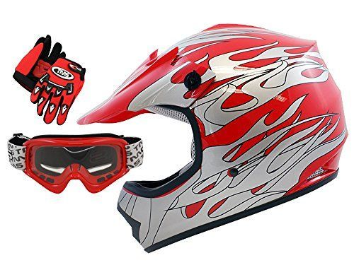 Tms Youth Kids Red Flame Dirt Bike Atv Motocross Helmet With