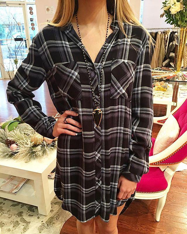 Pretty in Plaid. Shop @bella_dahl plaid + dresses at kkbloomboutique.com @kkbloomboutique