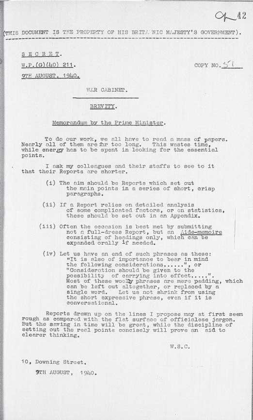 Churchill on brevity.