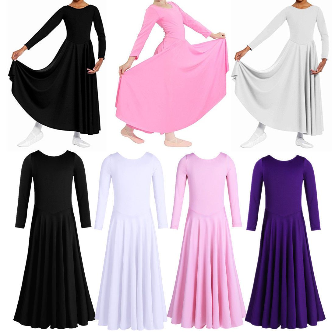Liturgicalpraise child dance dress for kid girls plain long sleeve