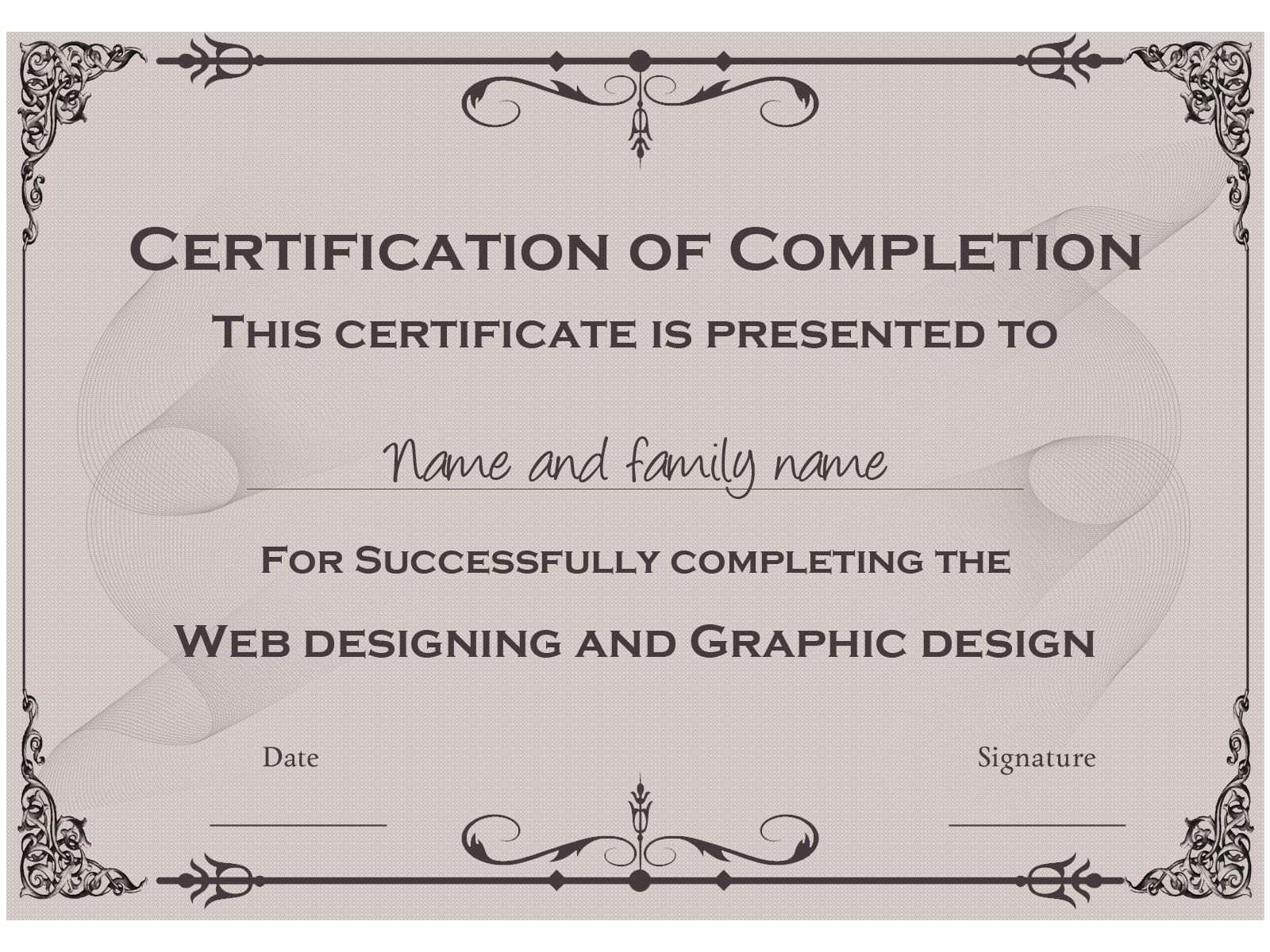 course completion certificate template course completion example certificate template you can this one and others like it for