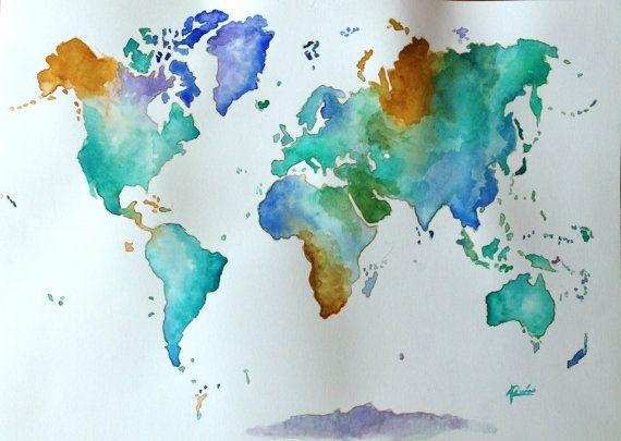 MARAQUELA Mapa mundi acuarela Paper 300gr A3     www - copy rainbow world map canvas