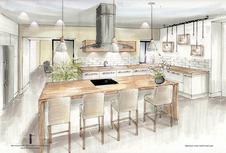 Pingl par jamila sur planche deco dise o de interiores interiores et dise o de cocina - Dessin cuisine 3d ...