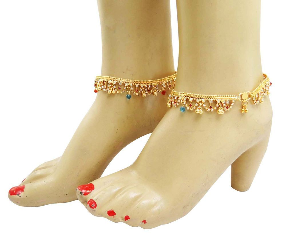 designer goldtone bracelet jewellery chain pin set bracelets acrylic anklet stone matra indian ankle
