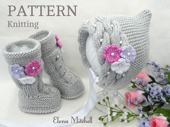 Knitting PATTERN Baby Set Baby Bonnet Baby Hat Cap Knitted Baby ...