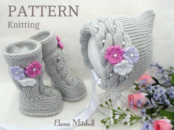 Knitting PATTERN Baby Set Baby Bonnet Baby Hat Cap von Solnishko43 ...