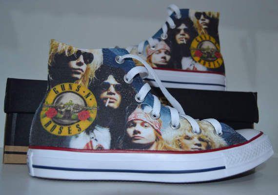 4b134cc1fd118 Guns N' Roses converse custom sneakers fan art print shoes ...