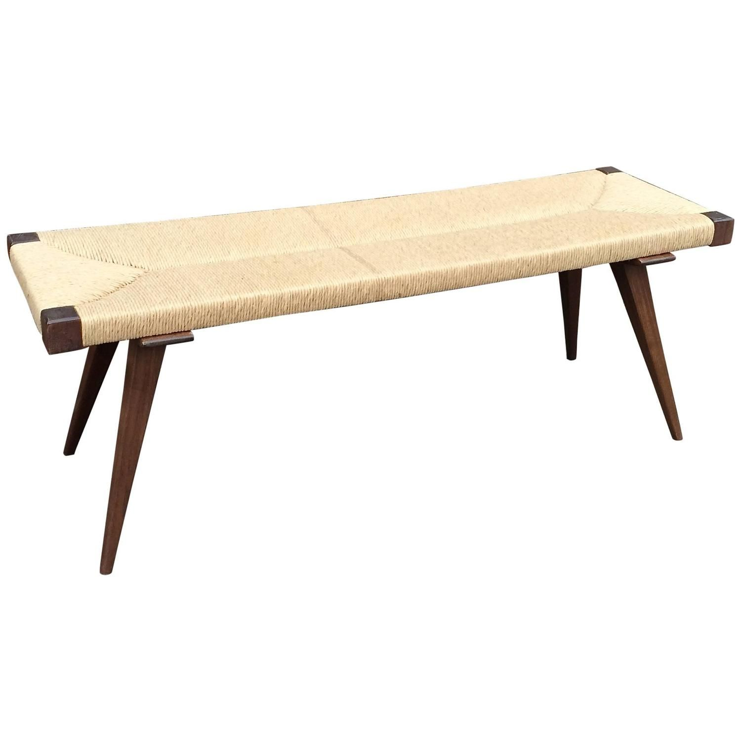Mid Century Modern Woven Rush Bench | From A Unique Collection Of Antique  And Modern Pictures Gallery