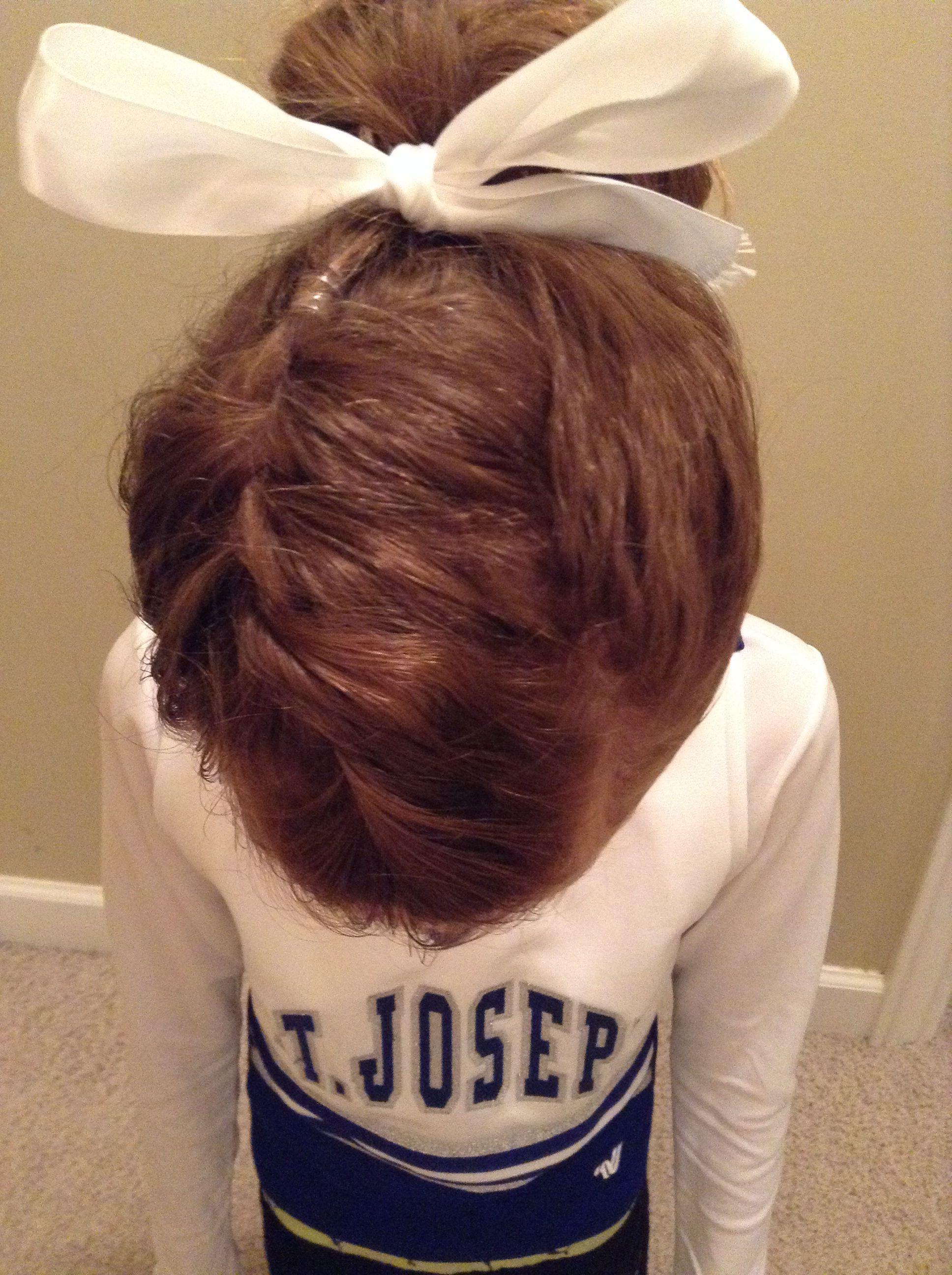 Cute cheer hairstyle   Cheerleading hairstyles, Cheer hair ...