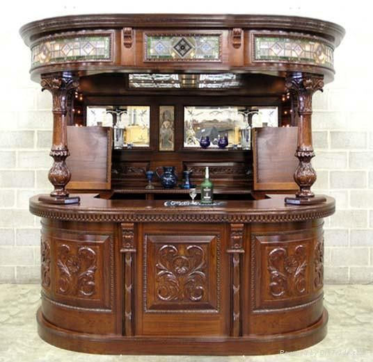 Classical Wooden Bar Table Bar Room Bar Chair Hand Carving 3