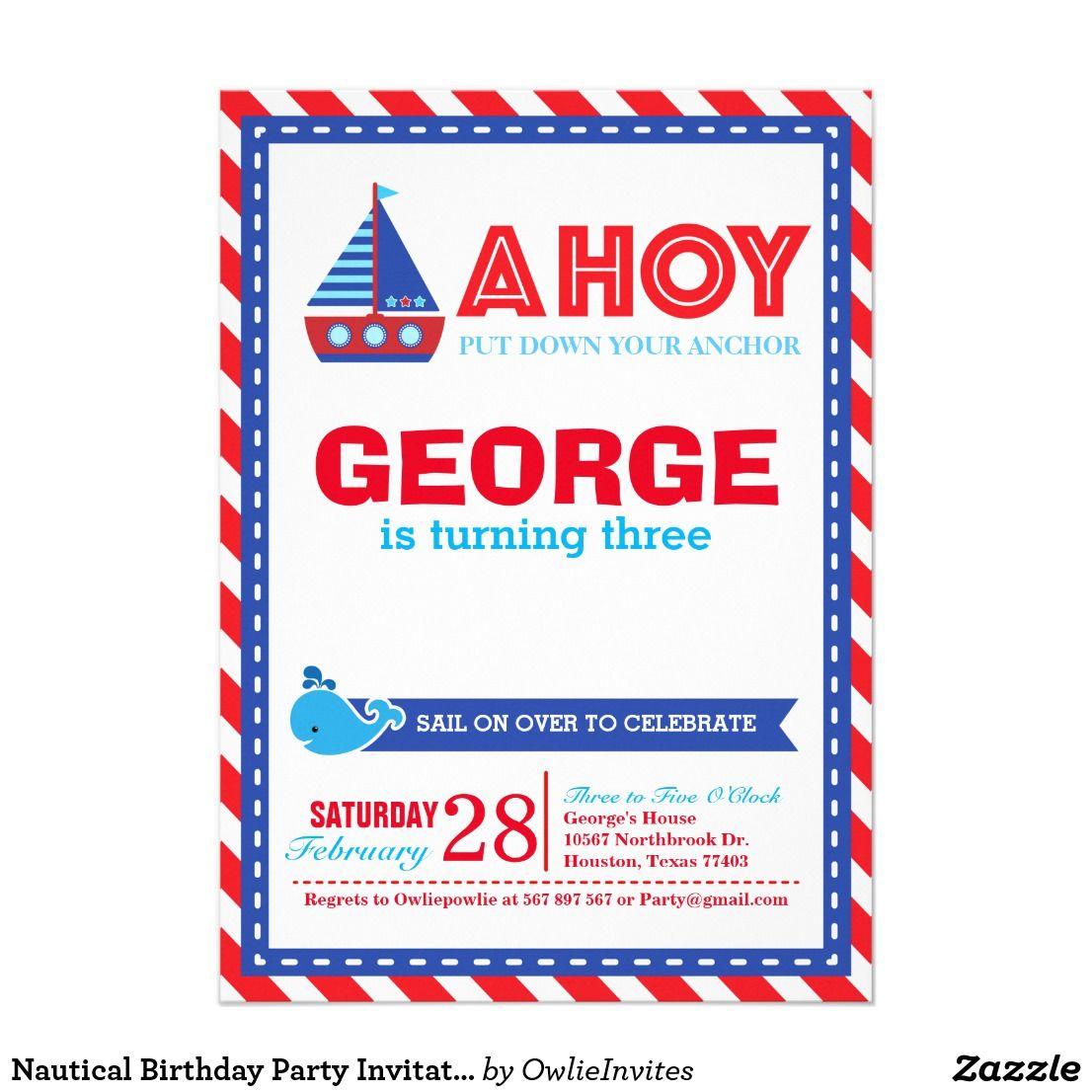 Nautical Birthday Party Invitation | Nautical party, Party ...
