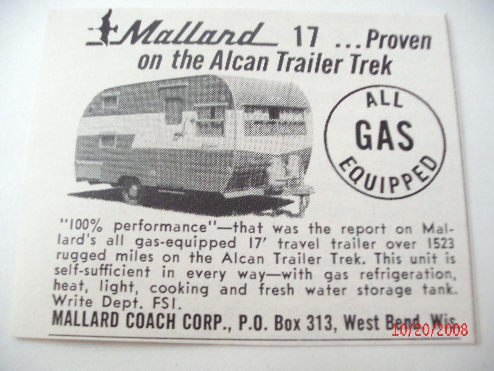 Mallard Travel Trailer 17' Advertisement 1960 Vintage VGC