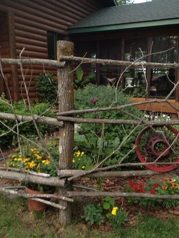 Make A Fence Out Of Tree Branches Fence Pinterest Garden Fence Rustic Fence Garden Fencing