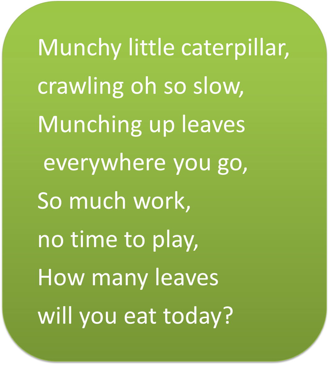 Little Munchy Caterpillar is so hungry he eats all day long. Here is ...