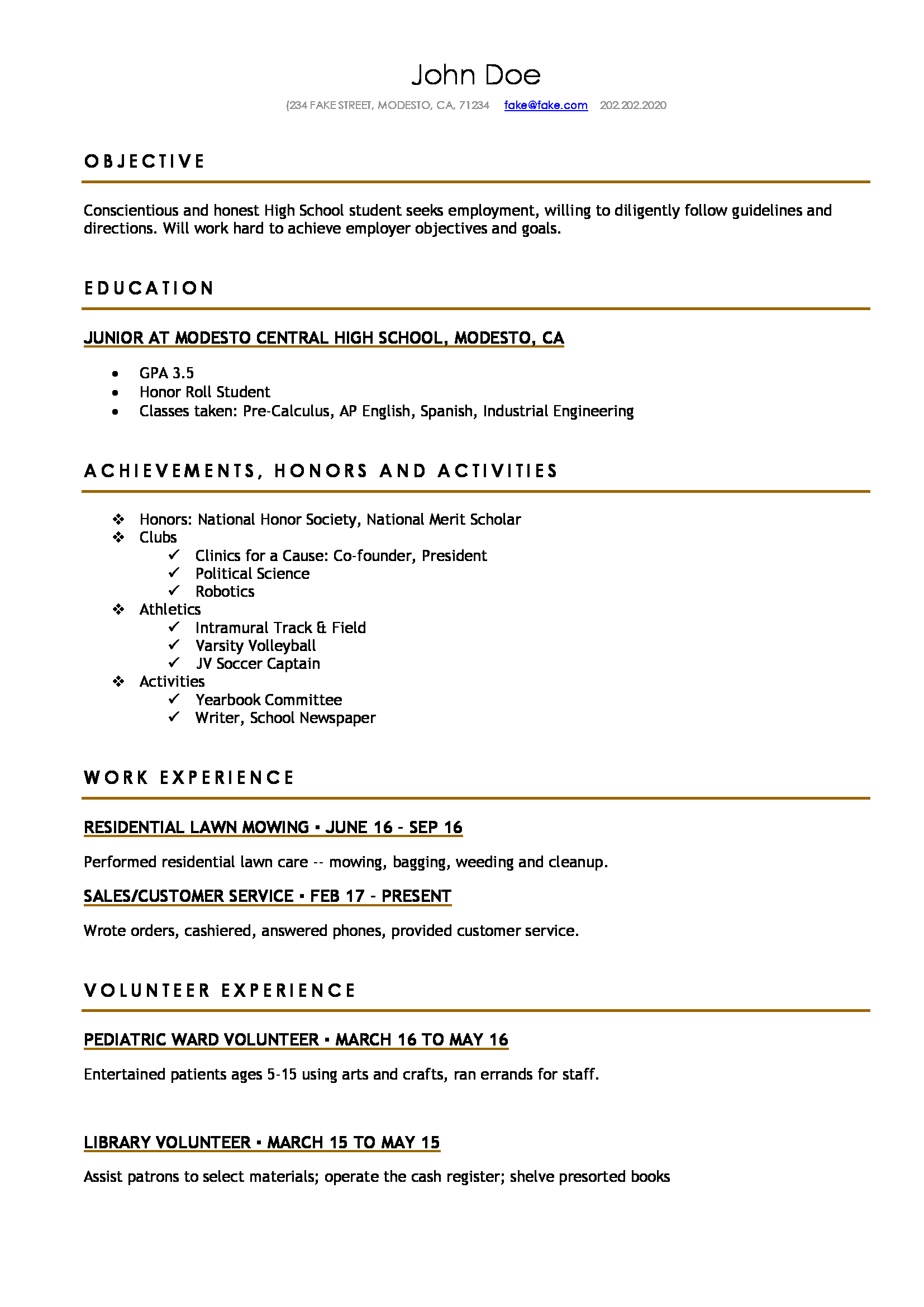 Resume Format For High School Students High School Resume High