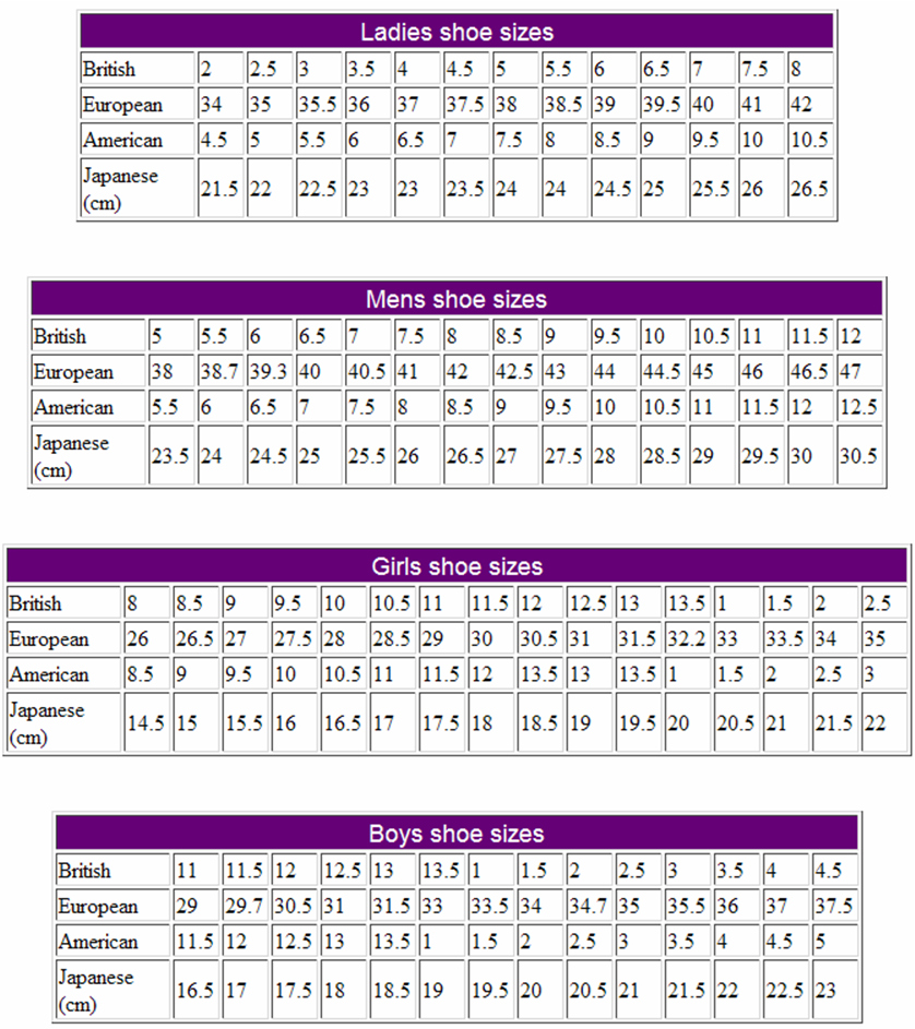 Chapter 7 Shows How Shoes Sizes In France Differ From In