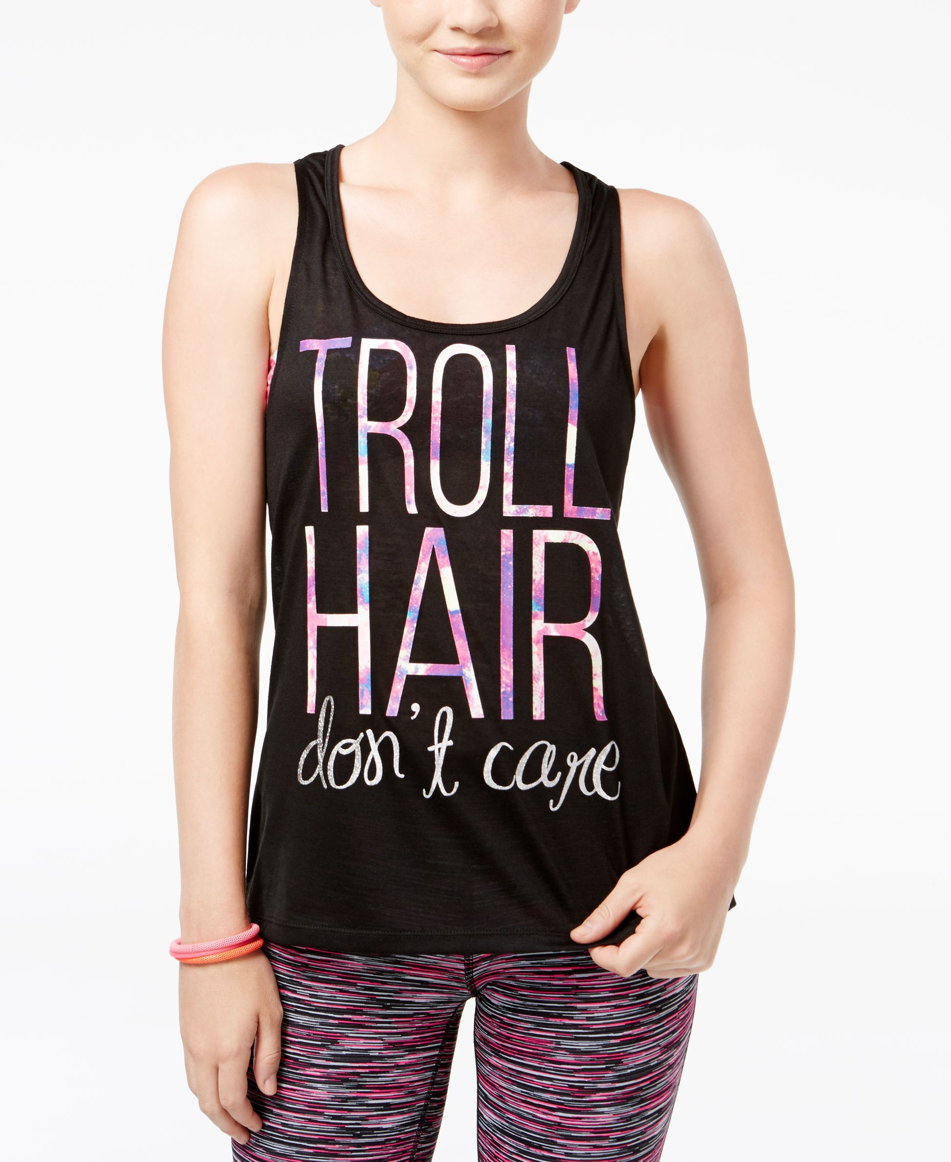 33d65486 ... rock this must-have tank top from DreamWorks Trolls. |  Polyester/spandex | Machine washable | Imported | Scoop neckline | Pullover  style | Sleeveless