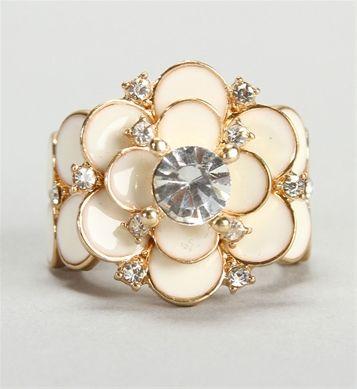 Rhinestone Ivory Rose Ring