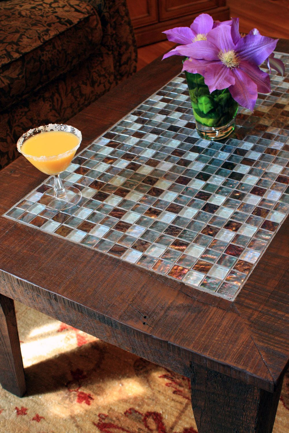 Coffee Table Tile Mosaic Reclaimed Wood Rustic