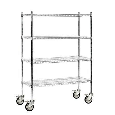 "Salsbury Industries Wire 4 Shelf Shelving Unit Mobile Finish: Chrome, Size: 80"" H x 48"" W x 18"" D"