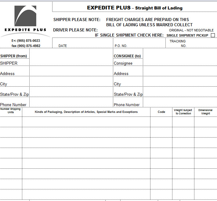 Bill Of Lading Templates 24 Free Printable Xls Docs Bill Of Lading Invoice Template Templates