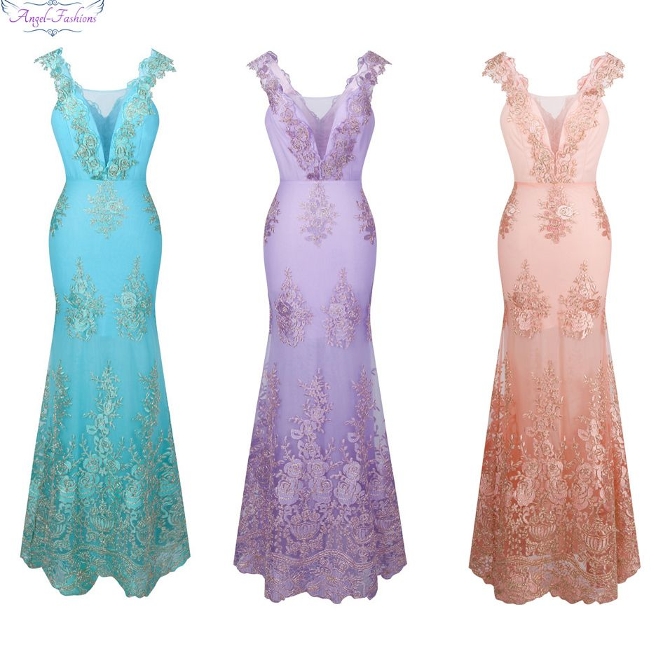 Angel-fashions Womens V Neck Flower Lace Beading Mermaid Long Bridesmaid Prom Dress