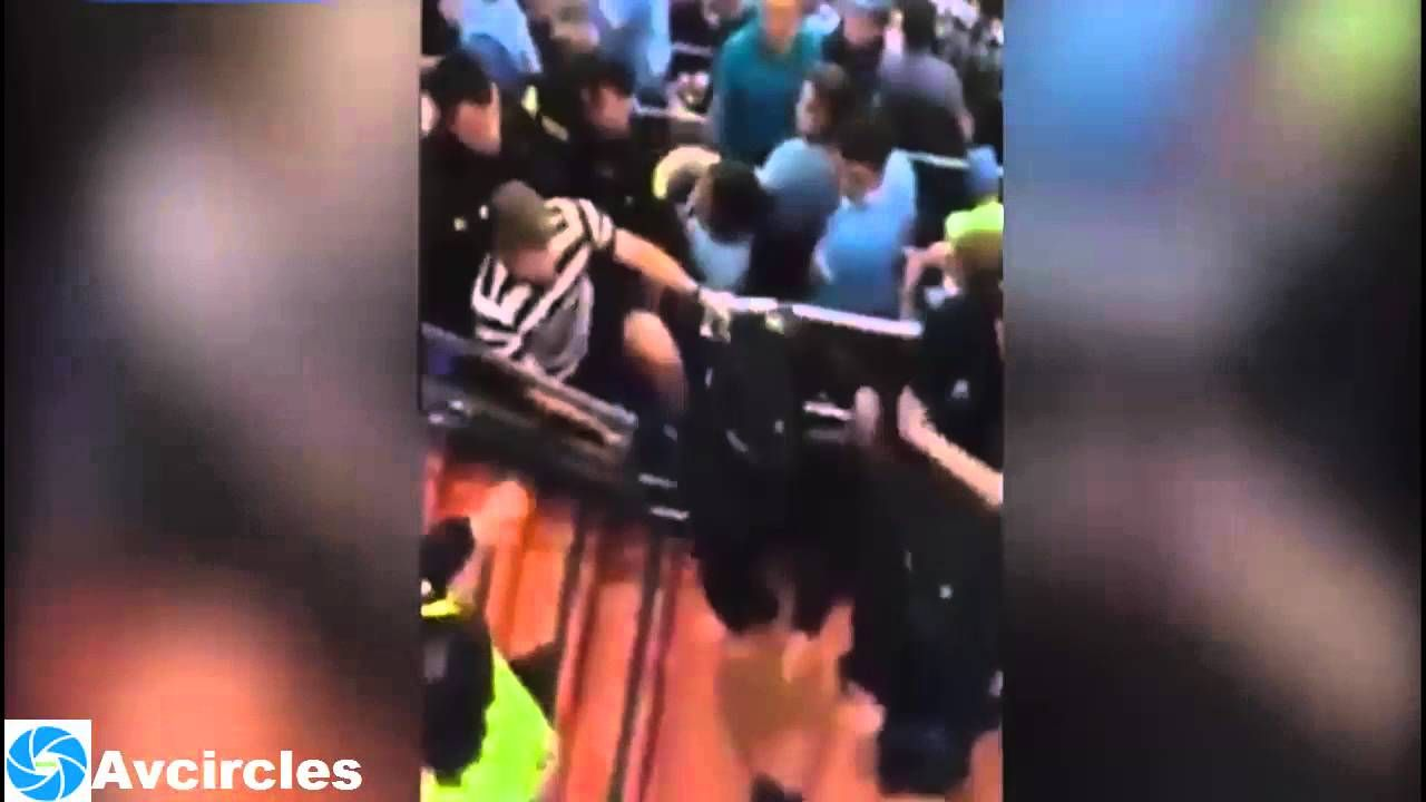 Dramatic moment Man City fans are attacked by Spanish police